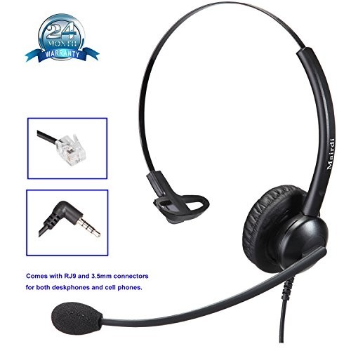Call Center Telephone RJ9 Headset Mono with Noise Cancelling Microphone Plus Extra 3.5mm Connector for Mobiles Compatible with Avaya Nortel Polycom and iPhone Samsung