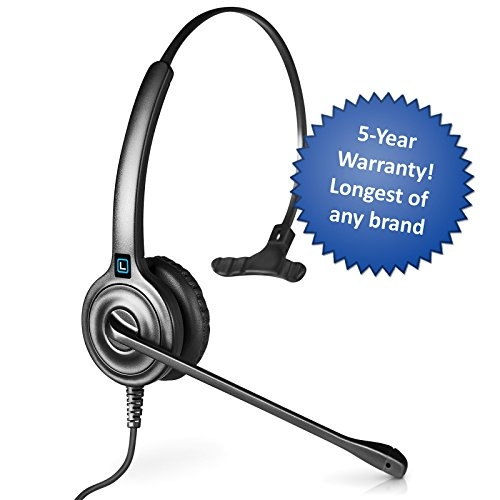 Leitner LH240 Corded Office Telephone Headset Single-Ear – 5-Year Warranty. Universal Adapter works with any Headset Cords and Accessories Including, Plantronics, Jabra