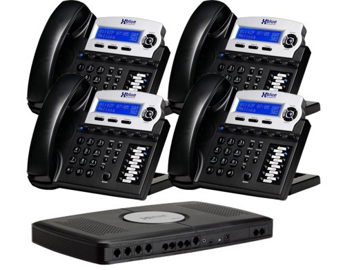 X16, Small Office Phone System with 4 Charcoal X16 Telephones – Auto Attendant, Voicemail, Caller ID, Paging & Intercom
